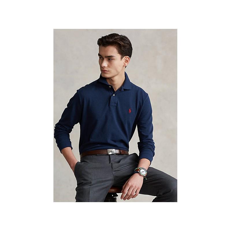 POLO RALPH LAUREN - Custom Slim-Fit piqué polo shirt 710681126 - Navy