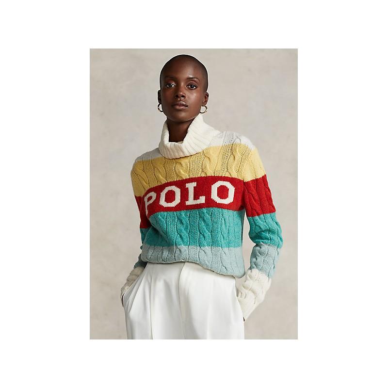 POLO RALPH LAUREN - Turtleneck Stripes Logo Knit - Milk White