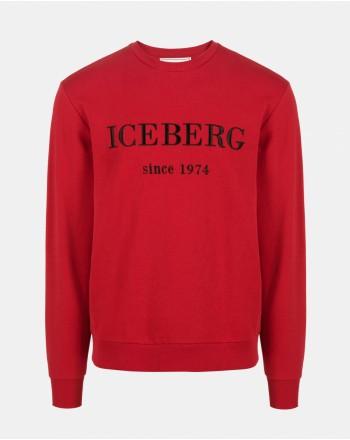 ICEBERG - Roundneck Fleece with Logo - Bordeaux