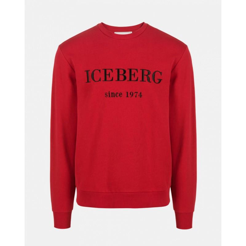 ICEBERG - Felpa Girocollo con Logo - Bordeaux