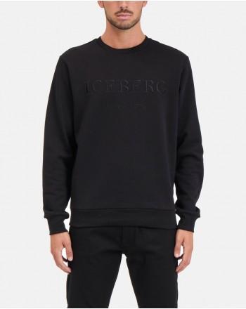 ICEBERG - Roundneck Fleece with Logo - Black