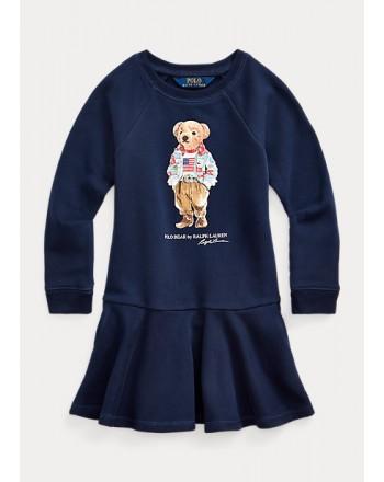 POLO RALPH LAUREN - Abito Polo Bear in felpa 311/312856712 - Blue