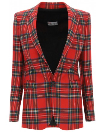 RED VALENTINO - Tartan Wool Jacket - Red