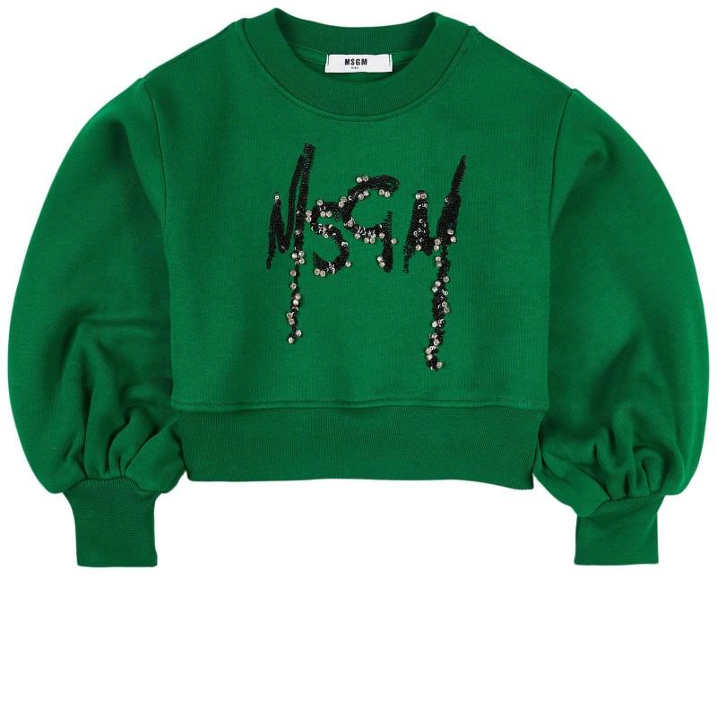 MSGM - Felpa logo MS027793 - Verde