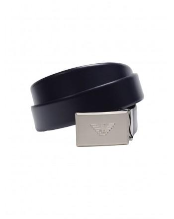 EMPORIO ARMANI - Leather Belt with Logo Tag - Black