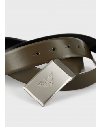 EMPORIO ARMANI - Leather Belt with Logo Tag - Dark Brown