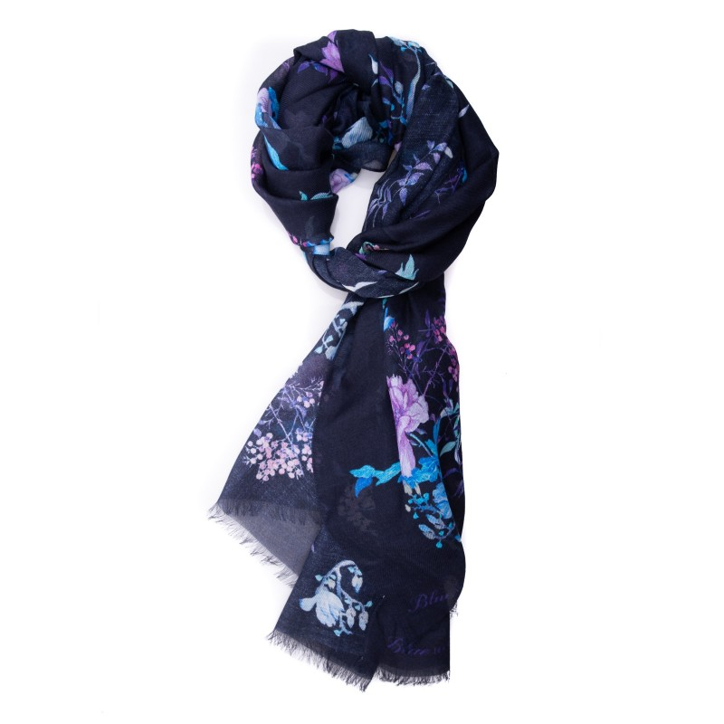 LES COPAINS - Scarf in Modal and Cashmere flowers print - Blue