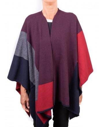 GALLO - Big check Wool Cape - Bordeaux