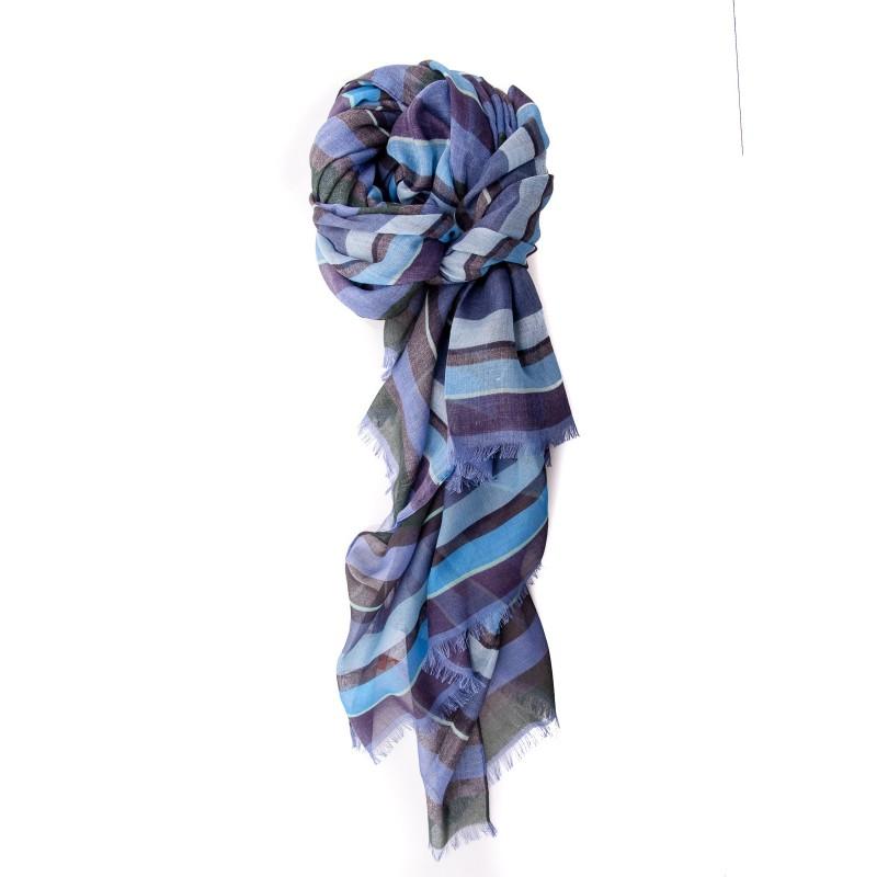 GALLO - Sciarpa a Righe in Cotone ,Modal e Cashmere - Copiativo/Blu