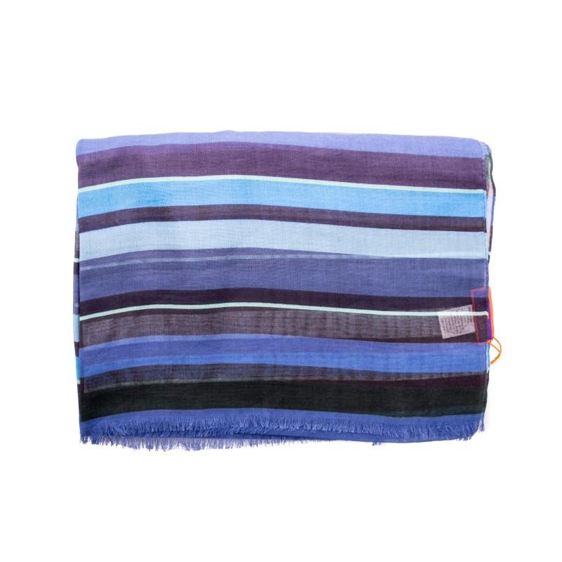 GALLO -Cotton, Modal and Cashmere Striped Scarf - Copy Blue