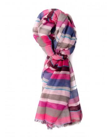 GALLO -Cotton, Modal and Cashmere Striped Scarf - Pyrite / Blue