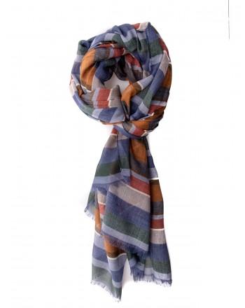 GALLO - Cotton, Modal and Cashmere Striped Scarf - Royal/Acorn