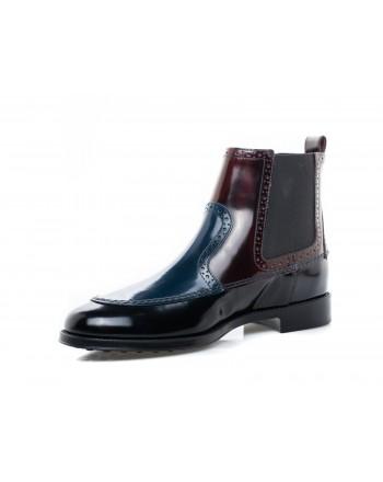 TOD'S - Leather Booties - Blue/Bordeaux/Black