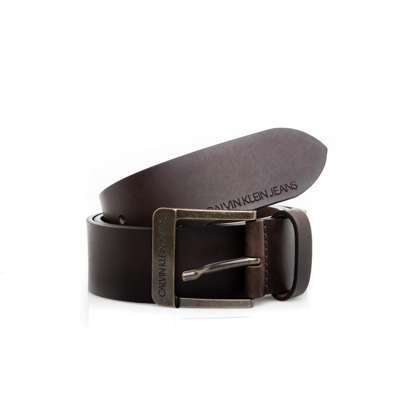 CALVIN KLEIN - Cintura in pelle - Caffè