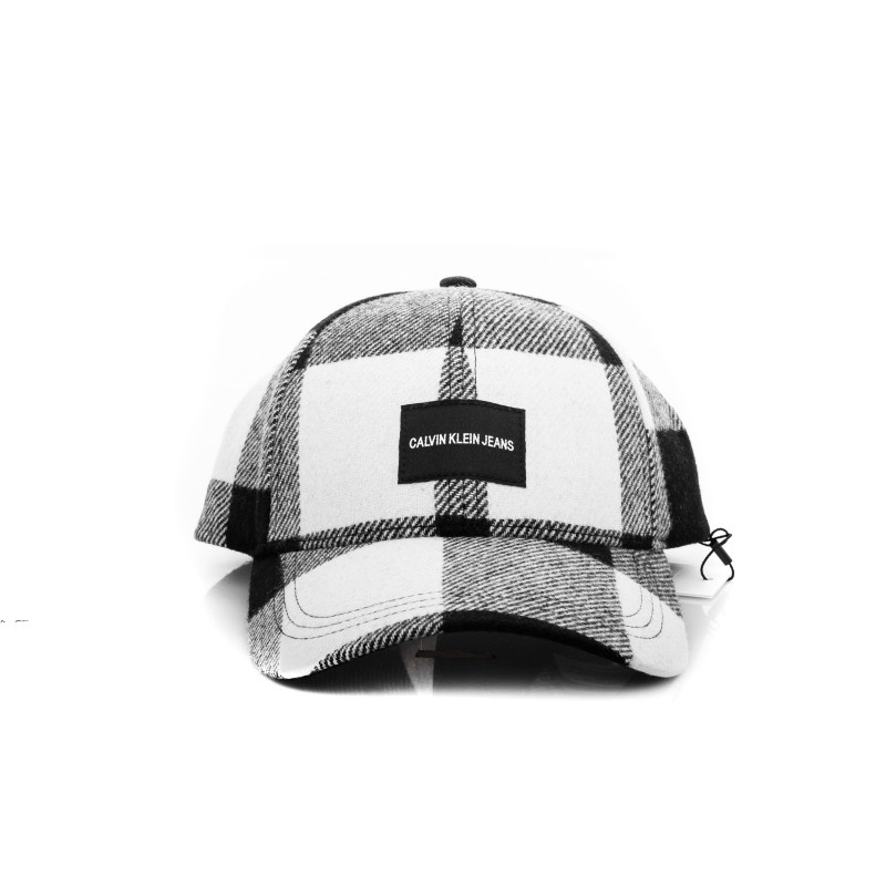 CALVIN KLEIN - Cappello con visiera in lana - Nero/Bianco