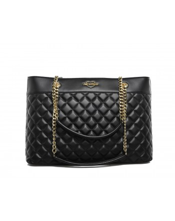 LOVE MOSCHINO - Quilted effect Shopping Bag with Chains - Black