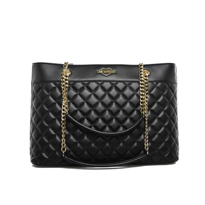 LOVE MOSCHINO - Borsa Shopping trapuntata con catene - Nero