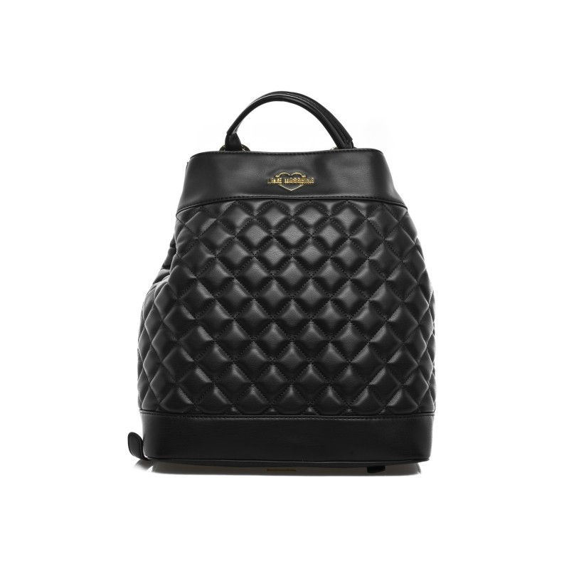 LOVE MOSCHINO - Quilted effect Backpack with front Logo - Black