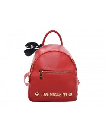 LOVE MOSCHINO - Zaino in ecopelle con tasca frontale e Logo - Rosso