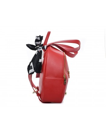 LOVE MOSCHINO - Ecoleather Backpack with Logo front Pocket - Red
