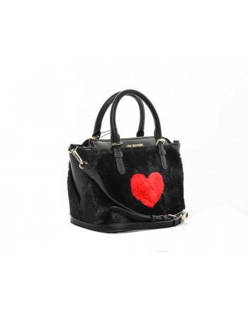 LOVE MOSCHINO - Hand bag in eco shearling with heart embroidery - Black