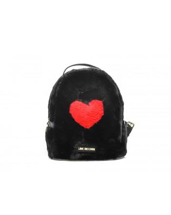 LOVE MOSCHINO - Zaino in ecopelliccia con cuore - Nero