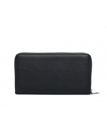 LOVE MOSCHINO - Zip around wallet in faux leather with embroidered logo - Black