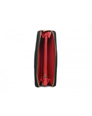 LOVE MOSCHINO - Portafoglio zip around in ecopelle con logo ricamato - Nero