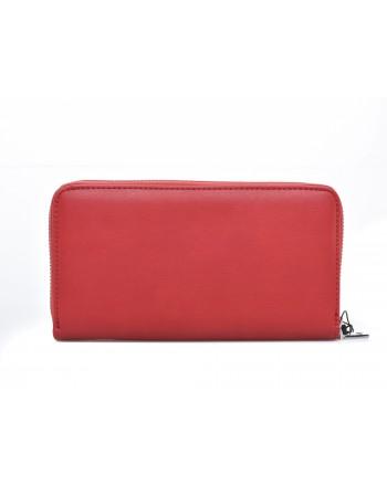 LOVE MOSCHINO - Portafoglio zip around in ecopelle con logo ricamato - Rosso