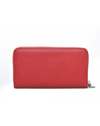 LOVE MOSCHINO - Zip around wallet in faux leather with embroidered logo - Red
