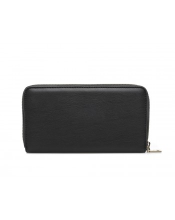 LOVE MOSCHINO - Zip around wallet in faux leather with multicolor patches and Mountain Girl  - Black