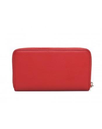 LOVE MOSCHINO - Portafoglio zip around in ecopelle con patch multicolor e Mountain Girl - Rosso
