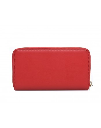 LOVE MOSCHINO - Zip around wallet in faux leather with multicolor patches and Mountain Girl - Red