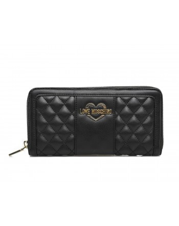 LOVE MOSCHINO - Faux leather wallet with quilted inserts - Black