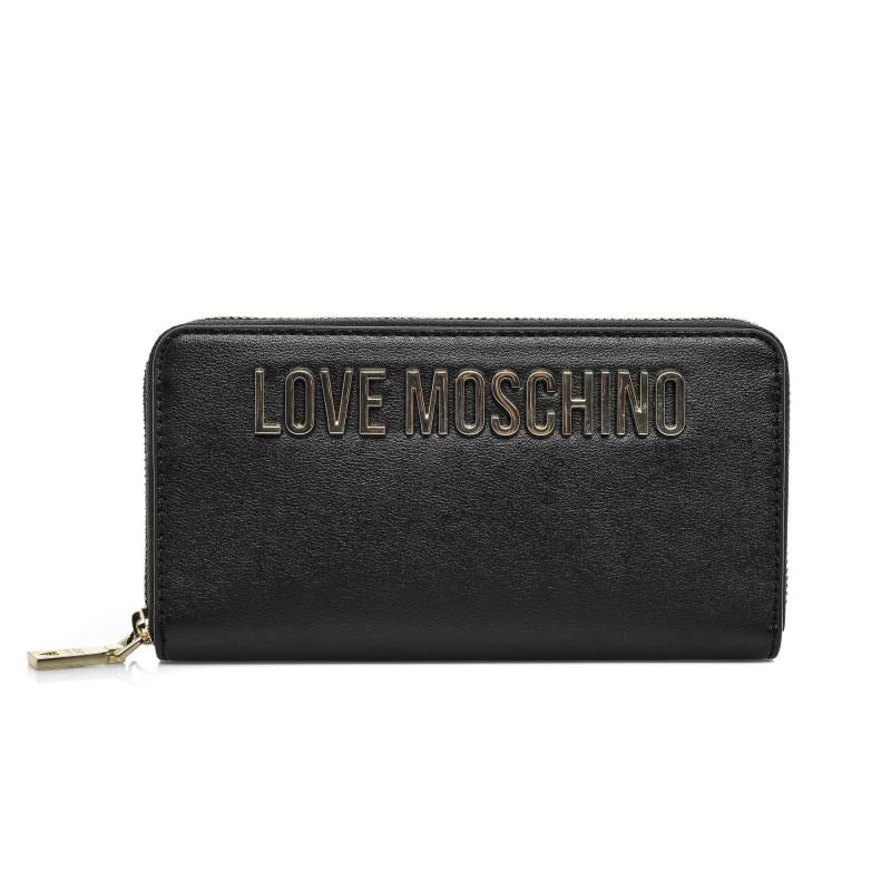 Moschino Portafoglio donna Love zip around in ecopelle nero