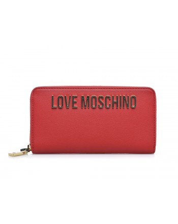 LOVE MOSCHINO - Zip around wallet in faux leather  - Red