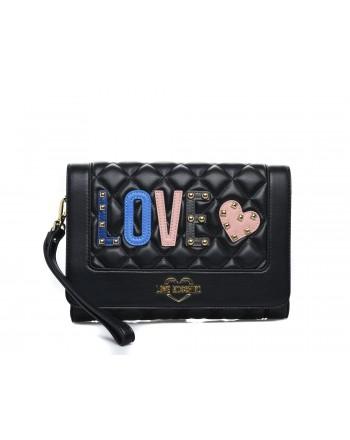 LOVE MOSCHINO - Borsa a tracolla in ecopelle con patch Love - Black