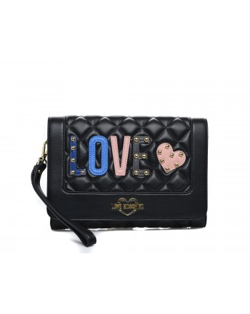 LOVE MOSCHINO - Borsa a tracolla in ecopelle con patch Love - Nero