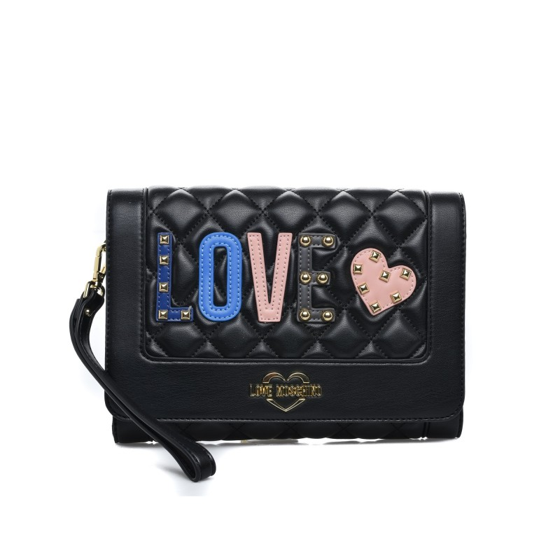 LOVE MOSCHINO - Borsa a tracolla in ecopelle con patch Love - Nero