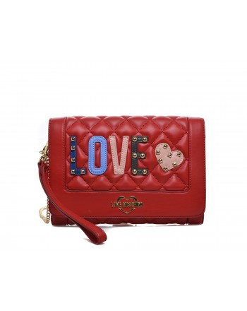 LOVE MOSCHINO - Borsa a tracolla in ecopelle con patch Love - Red