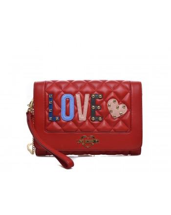 LOVE MOSCHINO - Borsa a tracolla in ecopelle con patch Love - Rosso