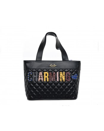 LOVE MOSCHINO -  CHARMING Shopping bag in quilted faux leather with patches - Black