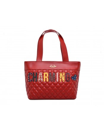 LOVE MOSCHINO -  Shopping bag CHARMING in ecopelle trapuntata con patch - Rosso