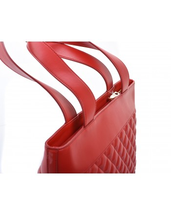 LOVE MOSCHINO -  CHARMING Shopping bag in quilted faux leather with patches - Red