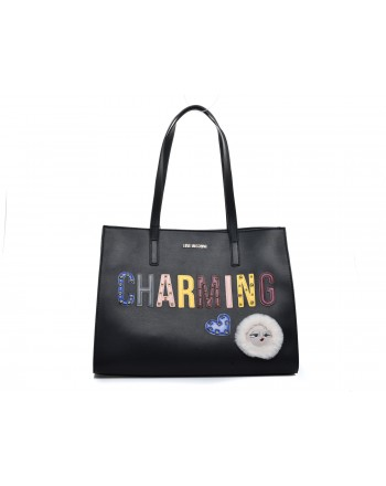 LOVE MOSCHINO - CHARMING Patch Bag - Black