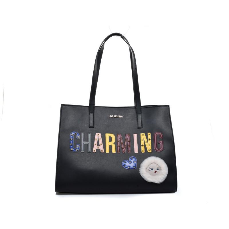 LOVE MOSCHINO - CHARMING Patch Bag - Black