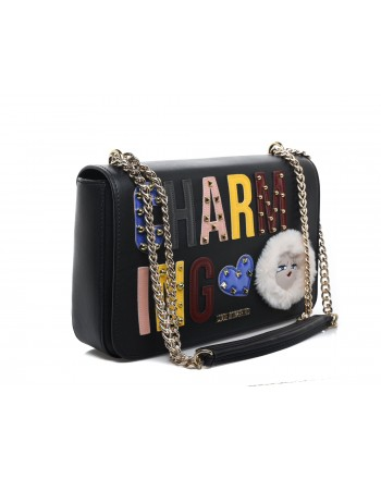 LOVE MOSCHINO - Shoulder bag with CHARMING patch and Montain Girl - Blac
