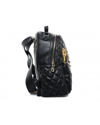 LOVE MOSCHINO -  Faux leather backpack with PEACE patch - Black