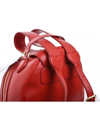 LOVE MOSCHINO -  Faux leather backpack with PEACE patch - Red