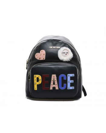 LOVE MOSCHINO - PEACE Patch Backpack - Black